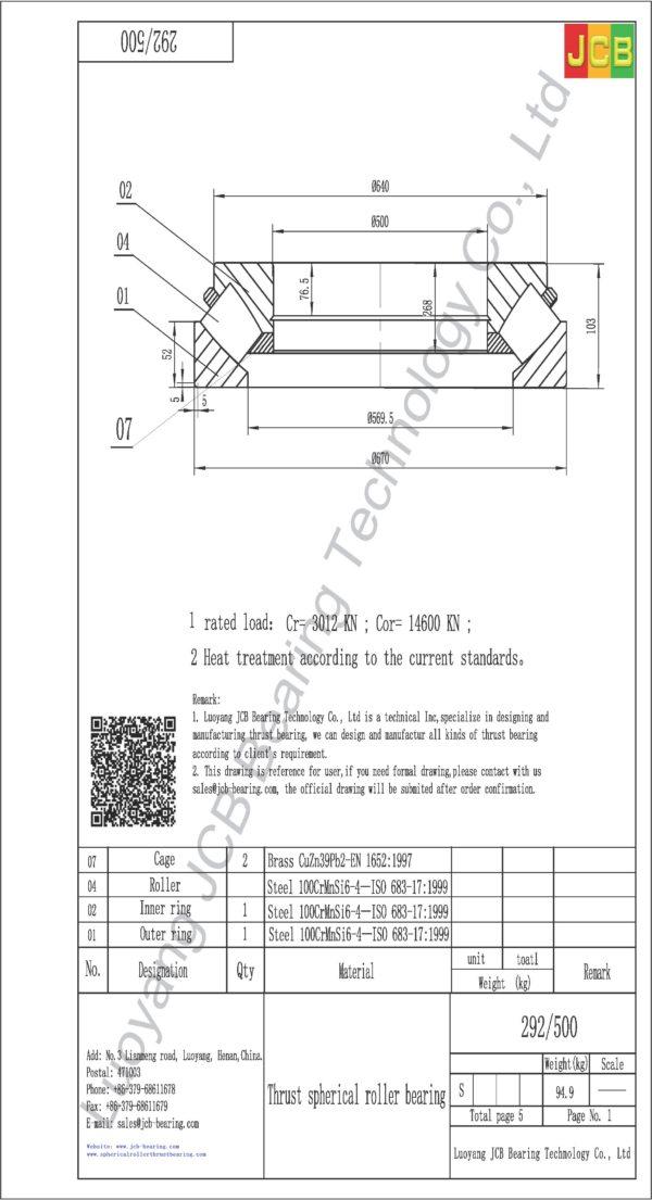 drawing of 292-500 spherical roller thrust bearing