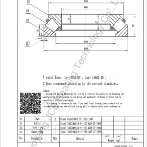 drawing of 292-600 EM spherical roller thrust bearing