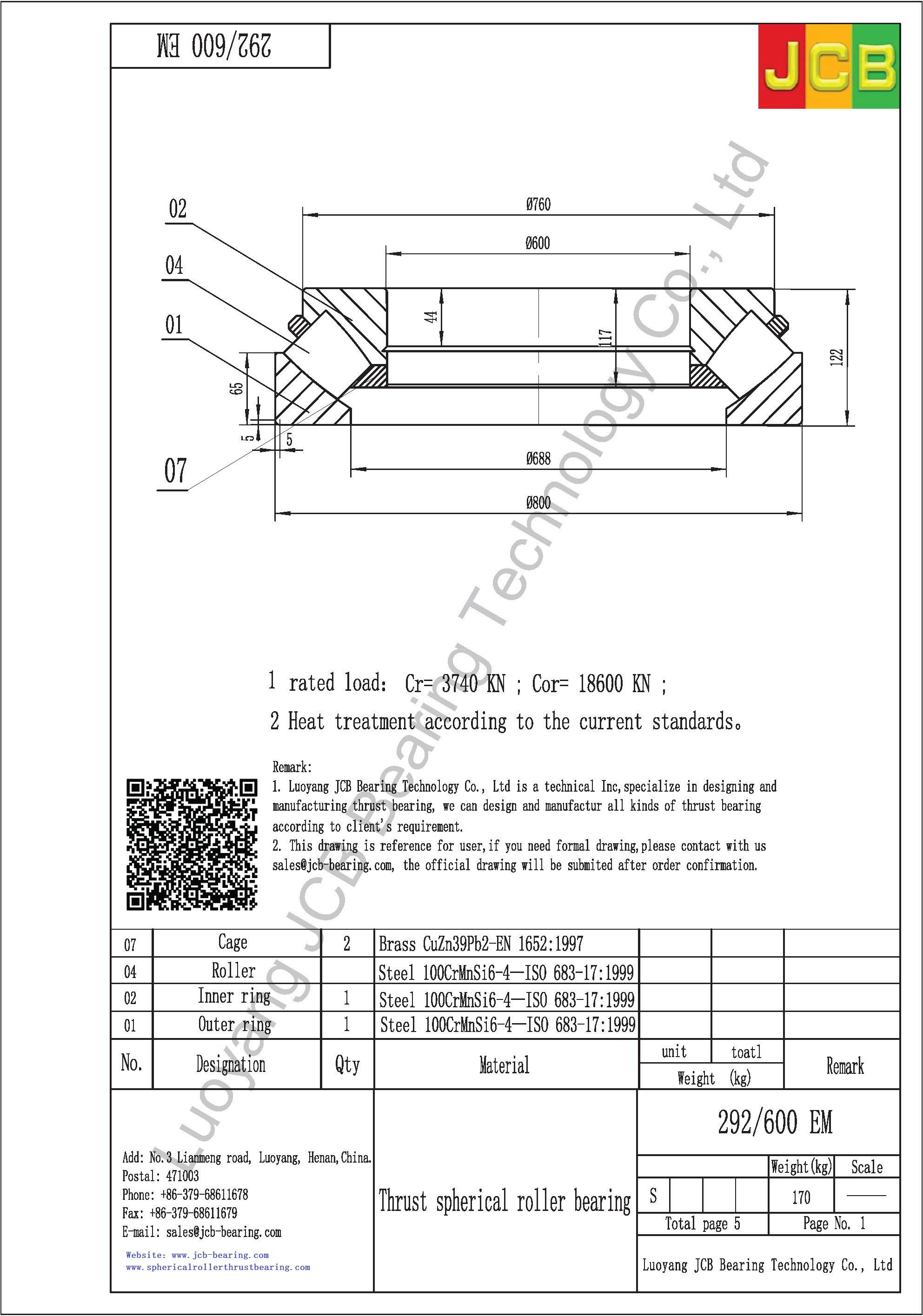 292/600 EM spherical roller thrust bearing