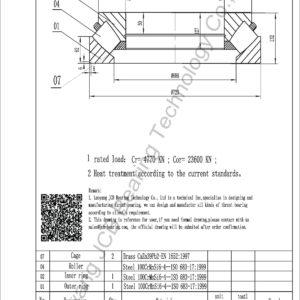 drawing of 292-630 EM spherical roller thrust bearing