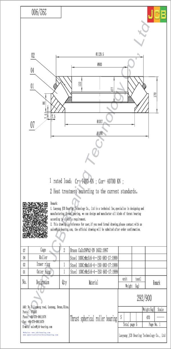drawing of 292-900 spherical roller thrust bearing