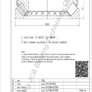 drawing of 29415E spherical roller thrust bearing