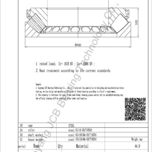 drawing of 29434E spherical roller thrust bearing