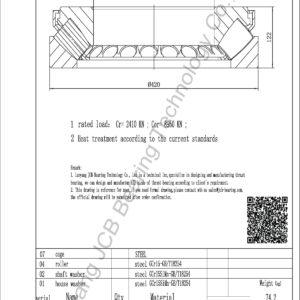 drawing of 29444E spherical roller thrust bearing